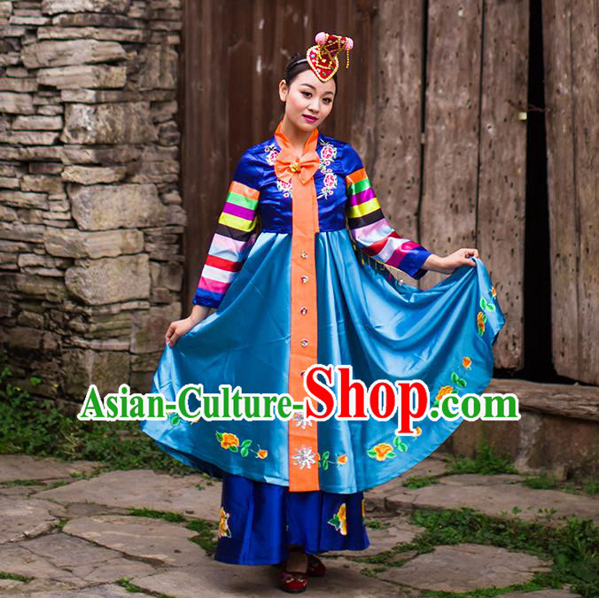 Traditional Chinese Korean Nationality Dancing Costume, Koreans Female Folk Dance Ethnic Dress, Chinese Minority Korean Nationality Embroidery Costume for Women
