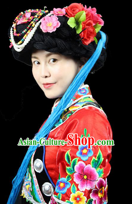 Traditional Chinese Naxi Nationality Jewelry Accessories Hats, Hmong Ethnic Accessories Embroidery Headwear Hat for Women