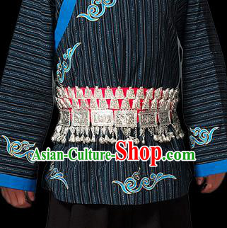 Traditional Chinese Miao Nationality Sliver Jewelry Accessories Belts, Tujiazu Ethnic Accessories, Chinese Minority Tujia Nationality Embroidery Bells Waistband for Men