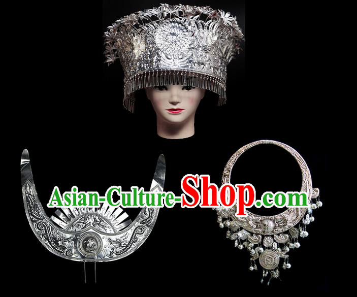 Traditional Chinese Miao Nationality Sliver Jewelry Accessories Necklace, Tujiazu Ethnic Accessories Headwear, Chinese Minority Tujia Nationality Hat Crown Set for Women