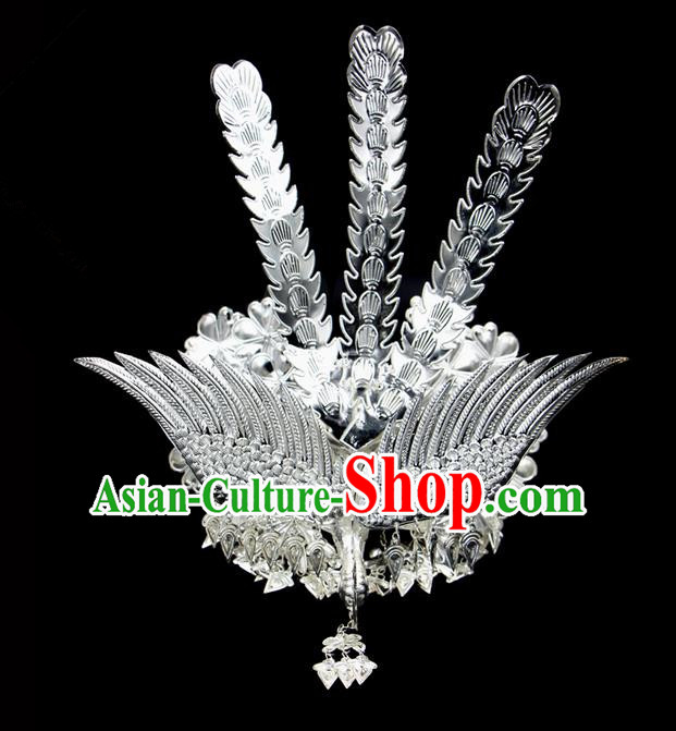 Traditional Chinese Miao Nationality Sliver Jewelry Accessories, Silver Phoenix Headwear, Hmong Ethnic Hair Accessories, Chinese Minority Miao Nationality Hat Crown for Women