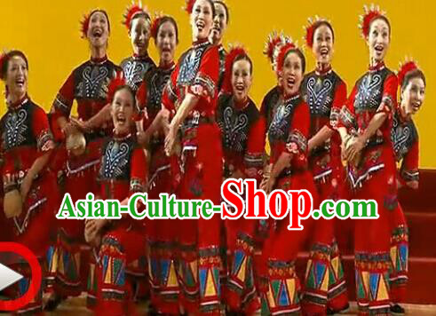 Traditional Chinese She Nationality Dancing Costume, Shezu Female Folk Dance Ethnic Dress, Chinese Minority Nationality Embroidery Costume for Women