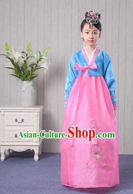 Korean Traditional Costumes Girl Dress Stage Show Dancing Clothes Blue Top Pink Skirt
