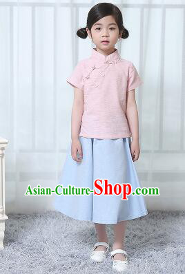 Chinese Style Dress Min Guo Student Dress Girl Female Kids Show Costume Stage Clothes Pink Top Blue Skirt
