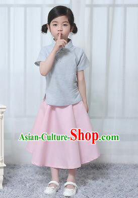 Chinese Style Dress Min Guo Student Dress Girl Female Kids Show Costume Stage Clothes Blue Top Pink Skirt