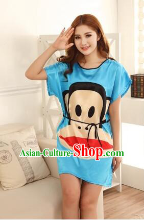 Night Gown Women Sexy Skirt Night Suit Nighty Bedgown Blue