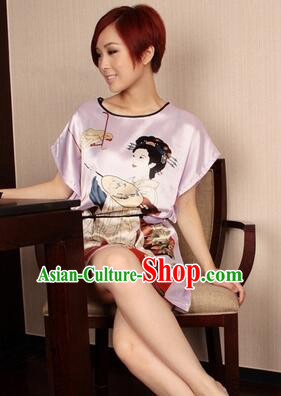 Night Gown Women Sexy Skirt Ancient China Style Chinese Traditional Beauty Pattern Night Suit Nighty Bedgown Pink