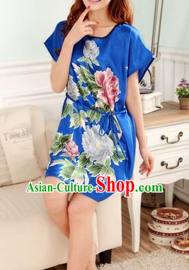 Night Gown Women Sexy Skirt Night Suit Nighty Bedgown Peony Blue