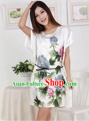 Night Gown Women Sexy Skirt Night Suit Nighty Bedgown Peony White