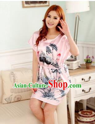 Night Gown Women Sexy Skirt Ancient China Style Chinese Traditional Chinese Brush Ink paint Pattern Night Suit Nighty Bedgown Fashionable Girl