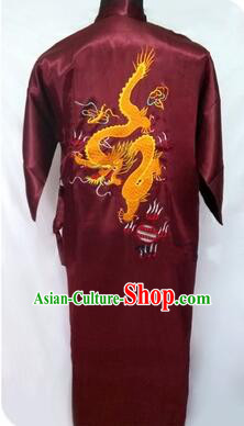 New Style Kimono Dragon Embroidered Chinese Loong Dragon Men Night Gown Leisure Clothes for Emperors Red