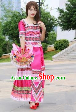 Traditional Chinese Miao Nationality Wedding Costume, Hmong Luxury Improved Bride Folk Dance Ethnic Long Skirt, Chinese Minority Nationality Embroidery Costume for Women