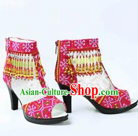 Traditional Chinese Minority Miao Nationality Ethnic Minorities Shoes, Hmong Bride Dance Shoe Wedding Shoes for Women