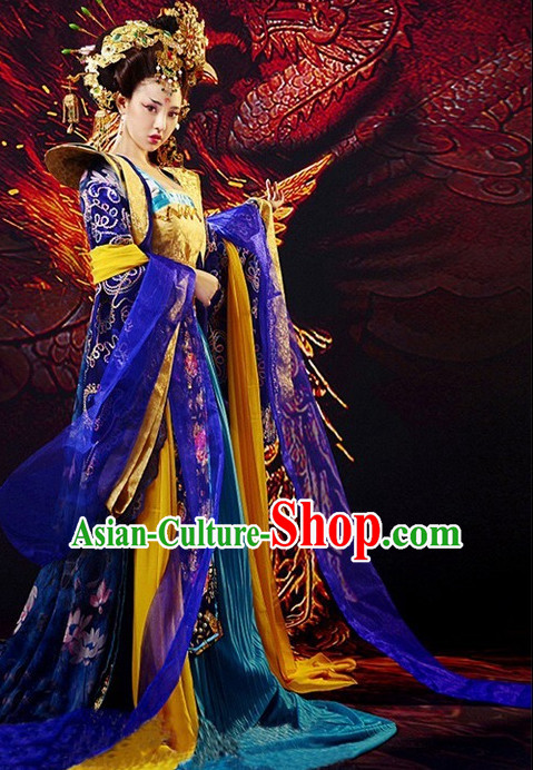 Chinese Ancient Film Tang Dynasty Imperial Clothing Costumes Princess Clothes and Coronet Complete Set for Women