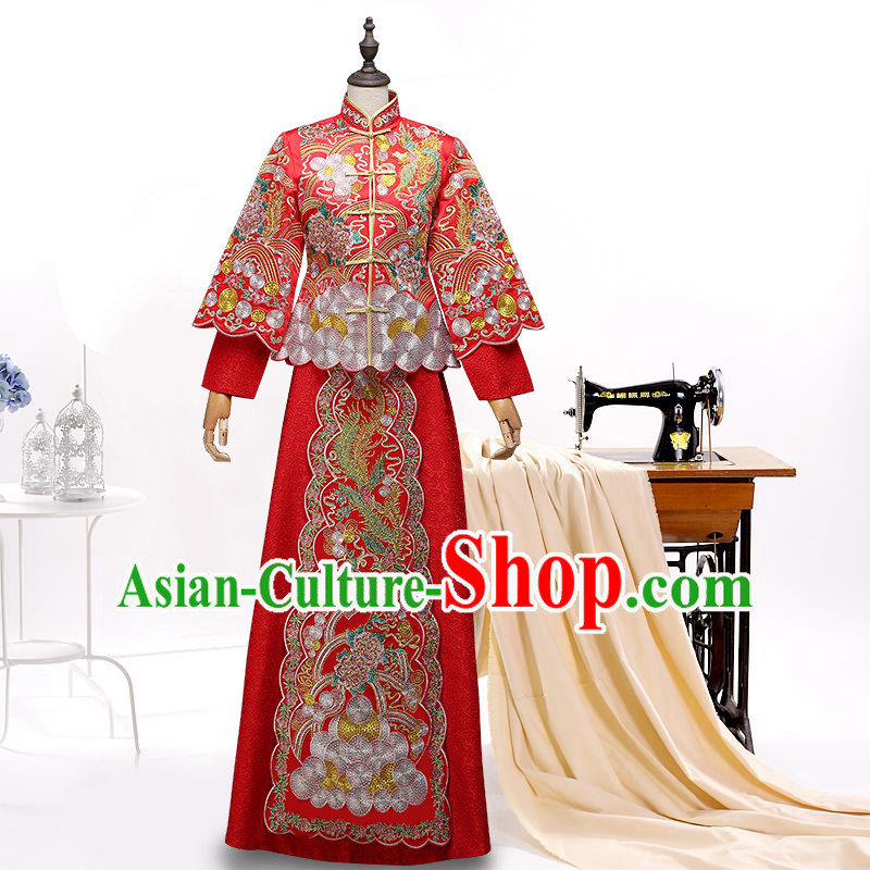 Ancient Chinese Costume, Chinese Style Wedding Dress, Red Ancient Dragon And Phoenix Flown, Bride Toast Clothing For Women