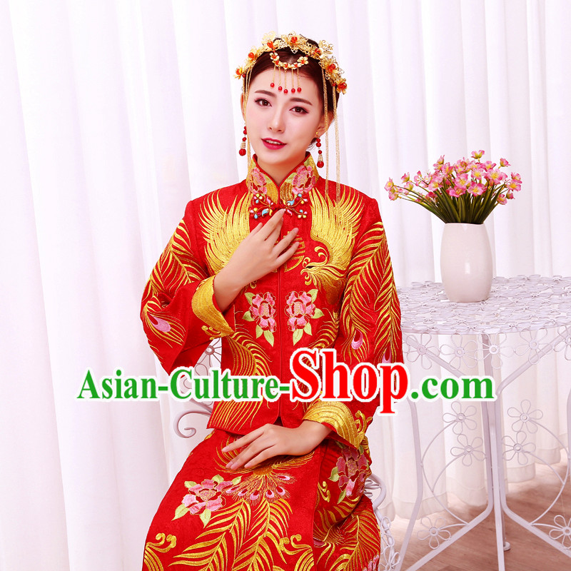 Ancient Chinese Costume, Xiuhe Suits Traditional Wedding Dress, Red Women Longfeng Dragon And Phoenix Flown, Bride Toast Cheongsam