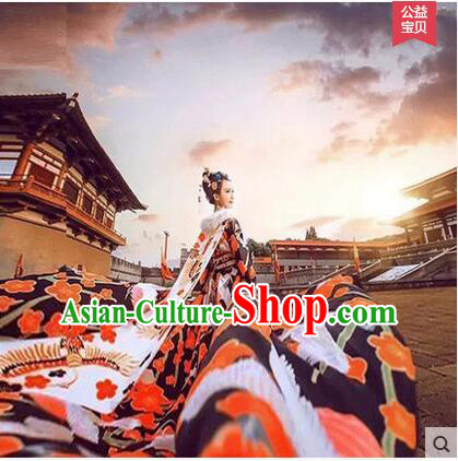 Ancient Tang Dynasty Costume, Traditional Wu Mei Niang Legend Hanfu, Queen Costume, Imperial Concubine Trailing Dress Set For Women