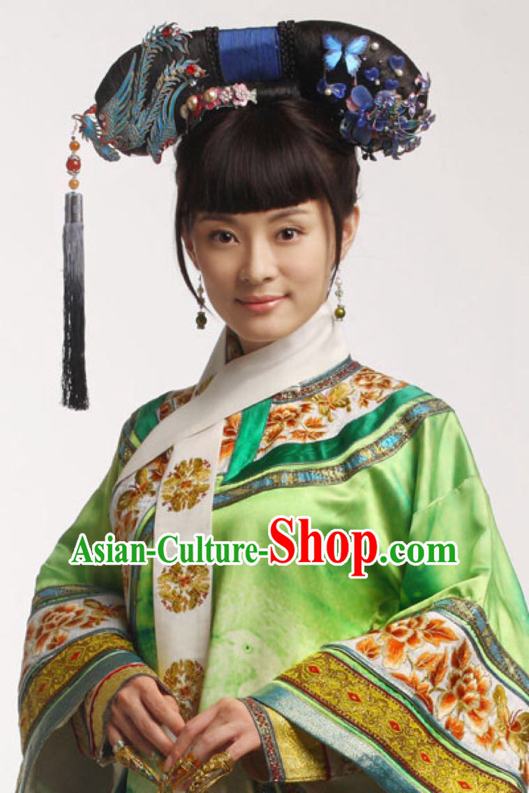 Acient Chinese Headwear, Traditional Qing Dynasty Hat, Legend Of Zhen Huan Headdress Suit, Large Heads Of La Fin Flag Plus Accessories, Empress Tire Costume Studio Props Cast Performance For Women