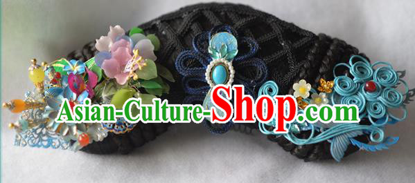 Chinese Qing Dynasty Zhen Huan An Lingrong Black Imperial Empress Wigs and Headpieces For Women