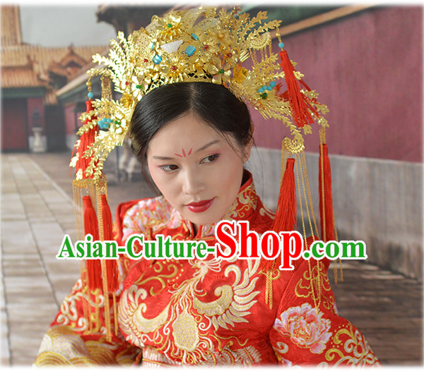 Chinese Qing Dynasty Xiuhe Suit Wedding Hair Accessories, Imperial Empress Handmade Phoenix Headpieces For Women