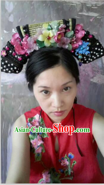 Qing Dynasty Imperial Empress Zhen Huan Handmade Phoenix Wig and Hair Accessories