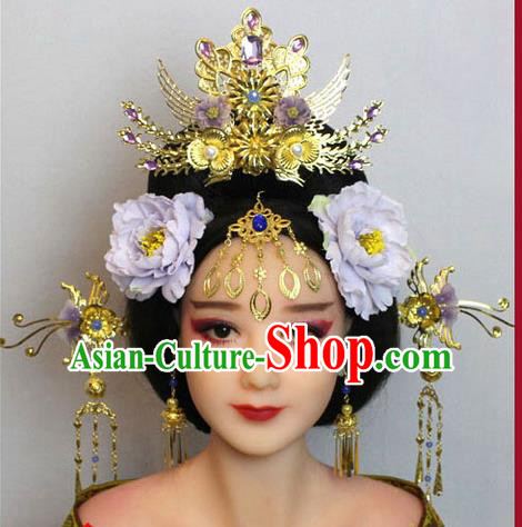 Chinese Ancient Style Hair Jewelry Accessories, Hairpins, Tang Dynasty Xiuhe Suits Wedding Bride Imperial Empress, Cosplay Princess Handmade Phoenix for Women