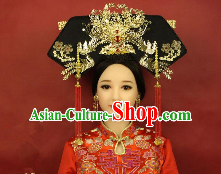 Qing Dynasty Imperial Empress Handmade Phoenix Wig and Hair Accessories