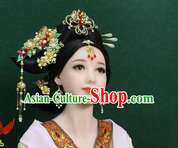 Chinese Ancient Style Hair Jewelry Accessories, Hairpins, Tang Dynasty Xiuhe Suits Wedding Bride, Imperial Empress Handmade Cosplay Princess Phoenix for Women