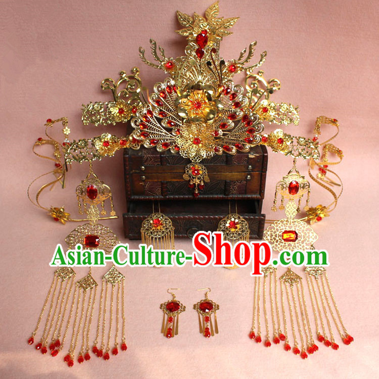 Chinese Ancient Style Hair Jewelry Accessories, Hairpins, Princess Hanfu Xiuhe Suit Wedding Bride Phoenix Coronet, Hair Accessories Set for Women