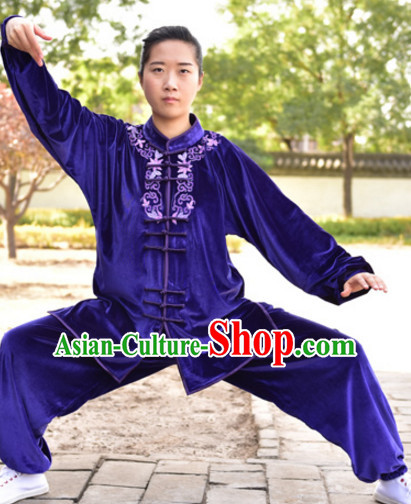 Top Kung Fu Velvet Clothing Mandarin Costume Jacket Martial Arts Clothes Shaolin Uniform Kungfu Uniforms Supplies for Men Women Adults Children