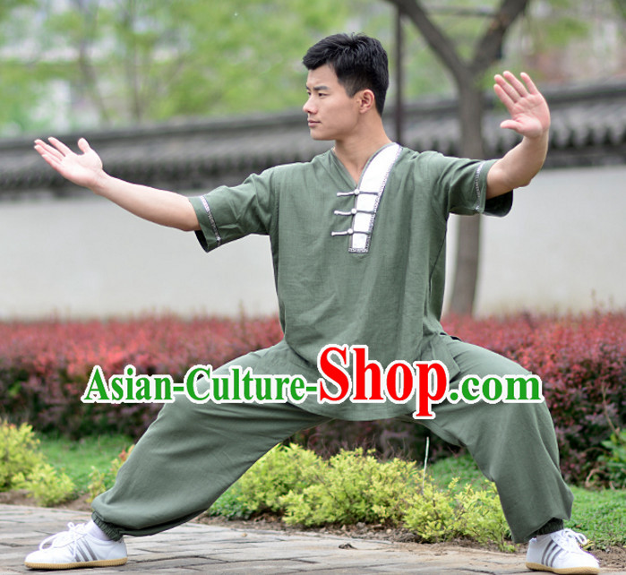 Top Kung Fu Flax Clothing Mandarin Costume Jacket Martial Arts Clothes Shaolin Uniform Kungfu Uniforms Supplies for Women Adults Children