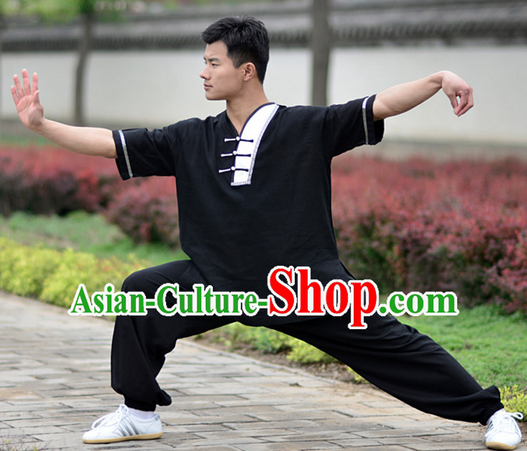 Black Top Kung Fu Flax Clothing Mandarin Costume Jacket Martial Arts Clothes Shaolin Uniform Kungfu Uniforms Supplies for Women Adults Children