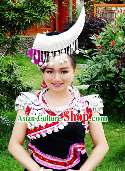 Chinese Princess Miao Tribe Headwear Silver Hat