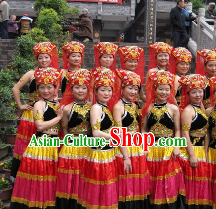 Traditional Chinese Ethnic Dance Costume Complete Set for Children