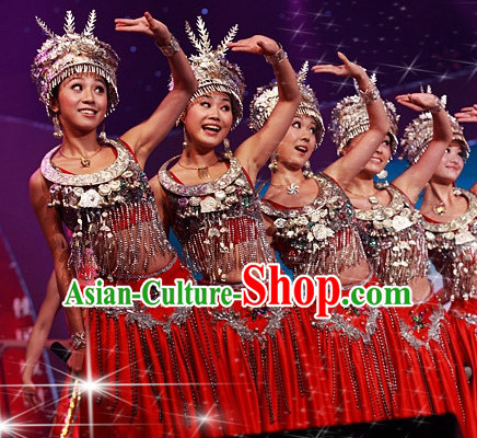 Traditional Chinese Miao Dance Costume and Silver Hat Complete Set for Women