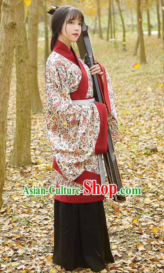 Ancient Chinese Hanfu Dress and Headpieces Complete Set for Women