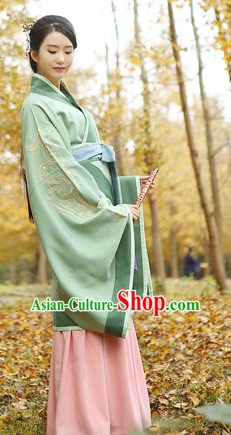 Ancient Chinese Hanfu Clothing and Headpieces Complete Set for Women