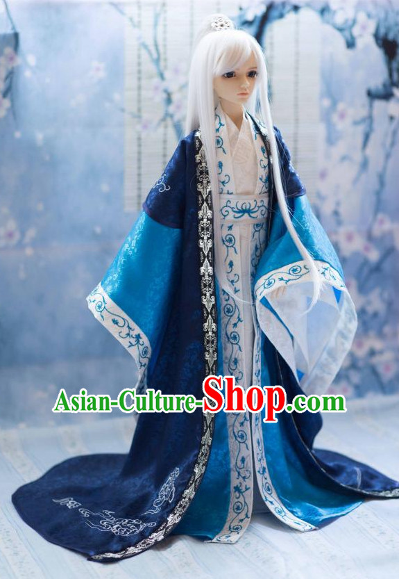 Ancient Chinese Style Dresses Clothing Clothes Han Chinese Costume Hanfu and Hair Jewelry Complete Set for Men Adults Children