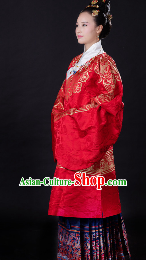 Chinese Style Dresses Kimono Dress Song Dynasty Outfits and Hat Complete Set for Girls