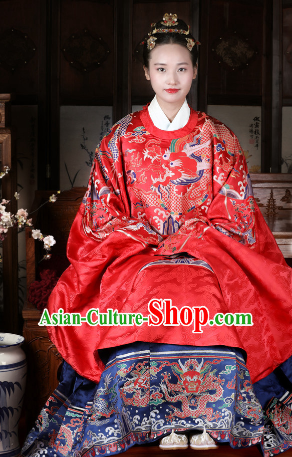 Chinese Style Dresses Kimono Dress Song Dynasty Empress Princess Queen Outfits and Hat Complete Set for Women