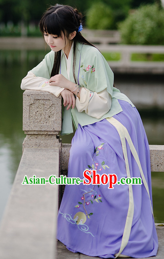 Chinese Style Dresses Kimono Dress Han Dynasty Outfits and Hat Complete Set for Girls