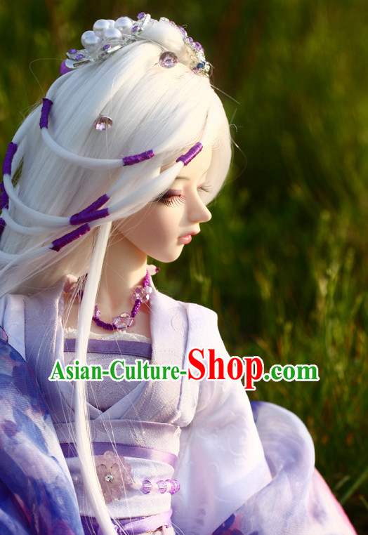 Ancient Chinese Style White Wigs and Hair Accessories