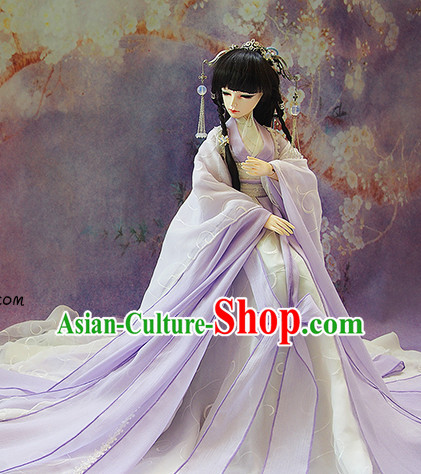 Ancient Chinese Purple Princess Costumes and Hair Jewelry Complete Set for Women