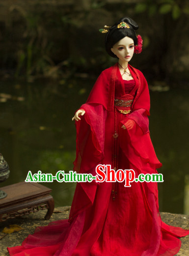 Ancient Chinese Red Lady Wedding Dress and Hair Jewelry Complete Set for Women
