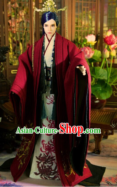 Ancient Chinese Emperor Prince Prime Minister Clothing and Hair Accessories Complete Set for Men
