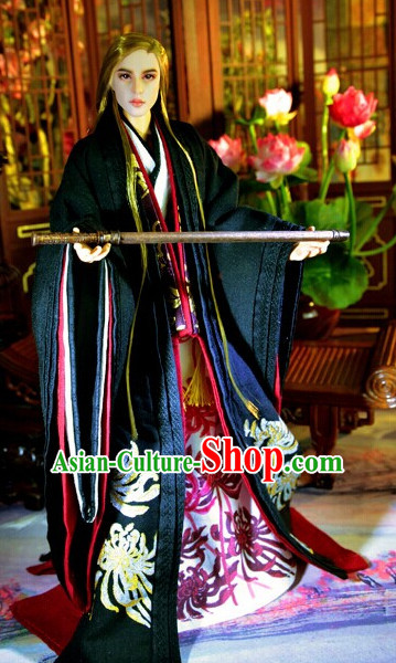Ancient Chinese Female Princess Queen Empress Black Wigs and Hair Accessories Set