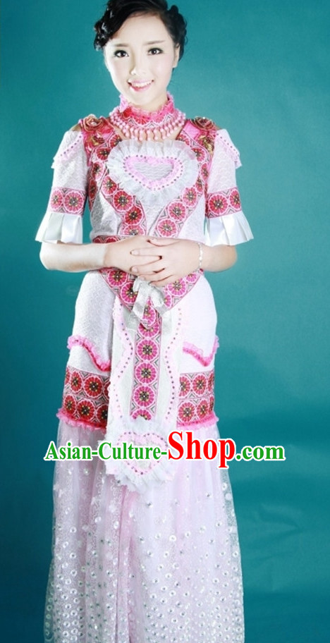 Chinese Traditional Miao Minority Princess Queen Empress Clothes Complete Set for Women