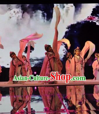 Chinese Classical Long Sleeves Water Sleeve Dance Costume Complete Set for Women