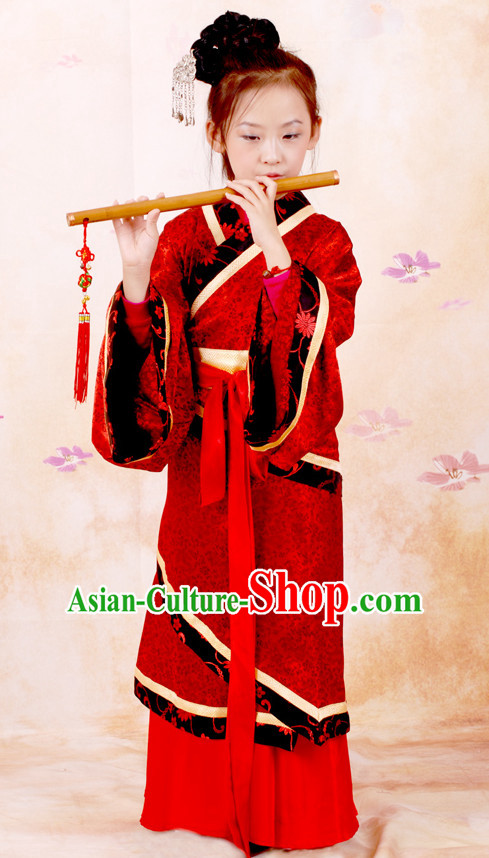 Chinese Ancient Han Dynasty Clothing and Headwear Complete Set for Girls Kids