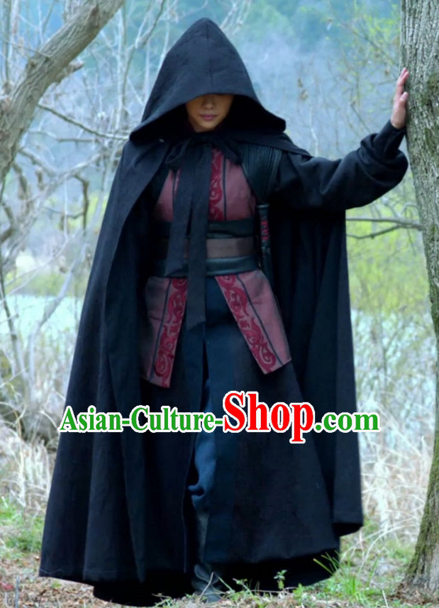 Black Chinese Ancient Swordsman Swordswoman Cape Mantle